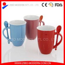 Taza de cerámica con la cuchara, taza de café de cerámica Cuchara en manija