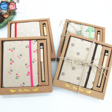 2016 New Promotion Gift A6 Fabric Cover Notebook with Pen (BH-A6-001)