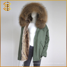Factory Directly Sales Raccoon Real Hooded Winter Fur Parka