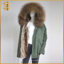 Fábrica de vendas diretas Raccoon Real Hooded Winter Fur Parka
