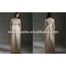 Noble High Waist Bow V Neck Lace Manga Curta Vestido de noiva de maternidade do assoalho da bainha