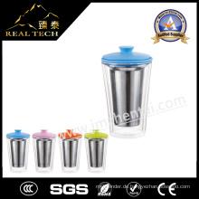 Mit Edelstahl Infuser / Filter / Sieb Top Qualität Glas Tasse