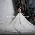 Vrai échantillon un mot épaule dentelle guangzhou robe de mariée avec longue queue