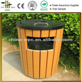 Outdoor wood plastic composite dustbin wpc garbage can wood park dustbin