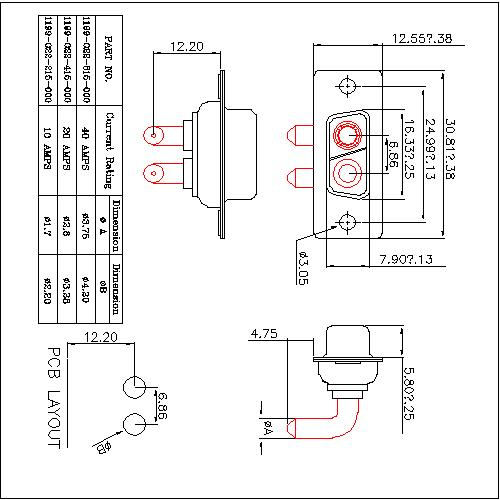 PDR2V2-FXXX00 POWER D-SUB 2V2 Right angle PCB-FEMALE TYPE