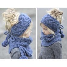 Miúdos das crianças do bebê meninas inverno bandana snood beanie hat lenço set (sk419s)