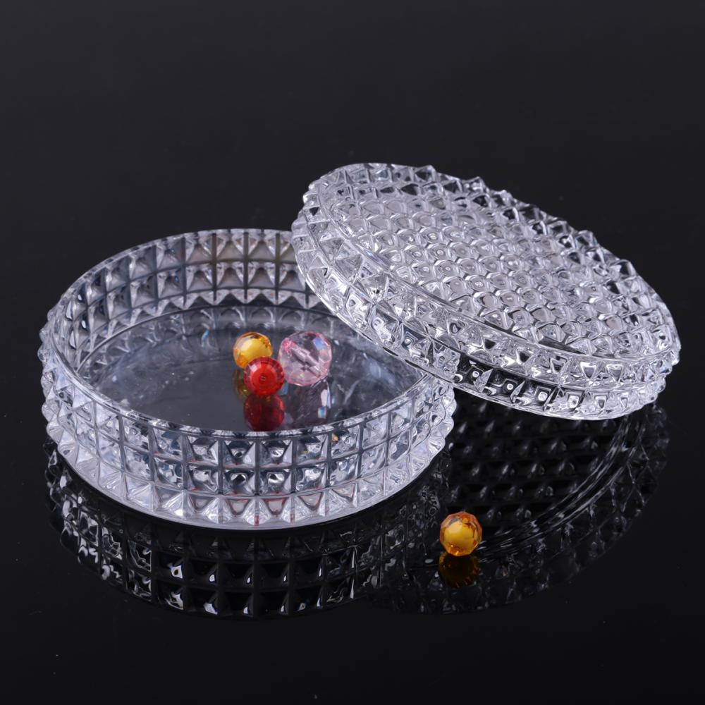 Br 1546clear Round Glass Jewelry Box Trinket Box