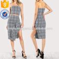 Plaid Tube Top & Maching Skirt Set Manufacture Wholesale Fashion Women Apparel (TA4110SS)