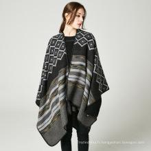 Nouveau style surdimensionné femmes pashmina écharpe 50% acrylique50% polyester hiver poncho manteaux