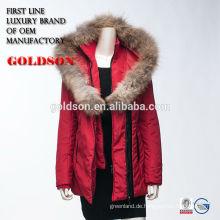 Rote Damen Sexy Winterjacke OEM China mit großem Waschbär Pelz