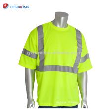T-shirts de sécurité respirable jaune fluorescent d'OEM T-shirts de travail réfléchissants de visibilité élevée de visibilité élevée de Hi Vis avec la poche