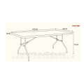 Portable folding table with 6' rectangle HDPE table topper plastic folding tables