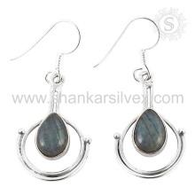 Joyería natural de la piedra preciosa del labradorite 925 pendientes de la plata esterlina joyería de plata india