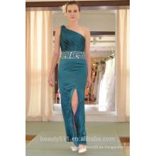 EN STOCK Off-The-hombro vestido de fiesta sin mangas de seda real de piso de longitud vestido de baile SE24