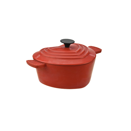 Heart-Shaped Red Cast Iron Casserole Dish