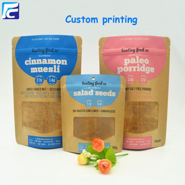 Kraft paper bag with clear window food packaging