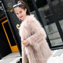 Exquisito abrigo de piel de mapache real de invierno para mujer