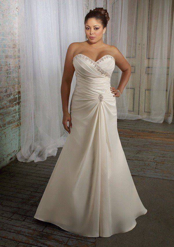 Elegante Trompete Mermaid Sweetheart Sweep Zug Satin Plus Size Hochzeitskleid 11223344