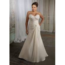 Trumpet Mermaid Sweetheart Sweep Train Satin Plus Size Wedding Dress 11223344