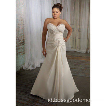 Elegan Trumpet Mermaid Sayang Sapu Kereta Satin Plus Size Wedding Dress 11223344