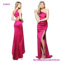 Venta al por mayor baratos un vestido de cóctel de satén de un hombro de estiramiento con una hendidura