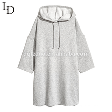 Stylish 3/4 sleeve light grey baggy womens oversized long pullover hoodie