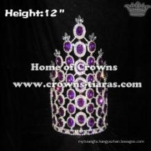 12inch Purple Diamond Wholesale Rhinestone Crowns