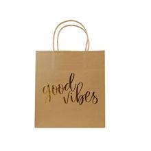 Papel de regalo Kraft dorado con asas para invitados de boda Baby Shower nupcial Hotel de compras Cumpleaños Bolsa de papel Imprimir