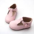 Wholesale leather pink dress baby shoes