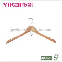 Percha de madera de la camisa con las muescas de U y el gancho ahorro del espacio