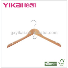Wooden shirt hanger with U notches &space saving hook