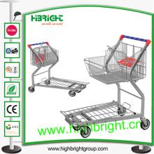 Carro de la carretilla del almacén con la cesta plegable