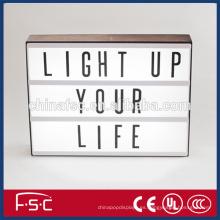 Decoración y combinación libre led caja de luz con letras