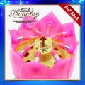 Asombroso feliz cumpleaños velas flor-forma velas de música para la fiesta de cumpleaños