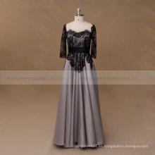 Madre negra y gris del cordón de la manga larga del vestido de noche de la novia