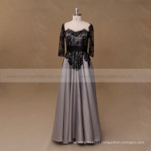 Black and gray lace mother of the bride evening dress long sleeve
