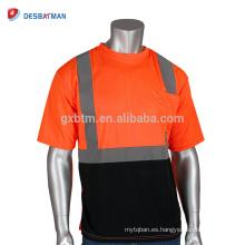 Venta al por mayor de adultos de alta visibilidad naranja neón seguridad camiseta reflectante malla brillante manga corta seguridad del trabajo Tees con un bolsillo