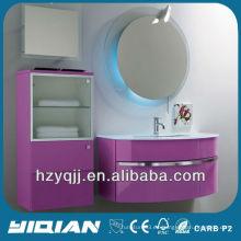 Muebles de baño europeos montados en la pared de vidrio templado blanco de lavado lavabo de alta calidad de color rosa brillante PVC y MDF gabinete de baño