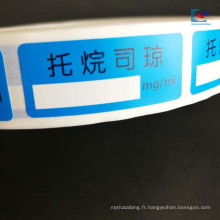 Étiquette faite sur commande de comprimé de produits de santé de suspension de papier d'art d'impression