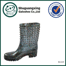 crystal stream flat rain boots B-819