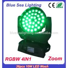 GuangZhou prix d'usine rgbw 4in1 36x10w conduit mini faisceau de lavage tête mobile
