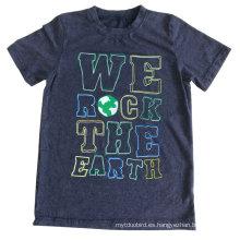 Nieve que se lava la camiseta de los niños del bebé de la impresión de la letra en la ropa de los niños con la calidad Sqt-616 del algodón