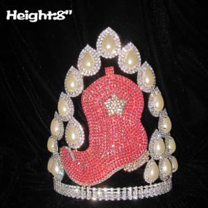 8in Height Custom Crystal High Heel Pageant Crowns