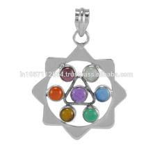 Belle pierres précieuses en ions et tigre avec pendentif en argent sterling 925 Bijouterie colorée