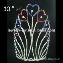 fashion metal silver plating full crystal heart shape wedding tiaras and jewellery wholesale