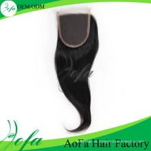 Mejor calidad cabello virginal humano al por mayor cierre de encaje