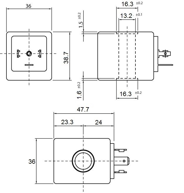 Overall dimension of ERA SIB Type WF/0.5HWF0.6H Solenoid Coils