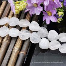 Corazón blanco piedras preciosas venta entera rebordean el filamento
