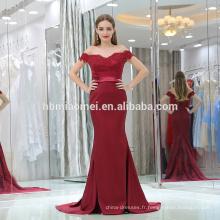 2017 sexy profonde v-cou un mot épaule sirène laded foncé rouge gros cul en robe de soirée photos sari sans bretelles