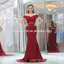 2017 sexy deep v-neck one word shoulder mermaid laded dark red big ass in evening dress photos saree strapless evening